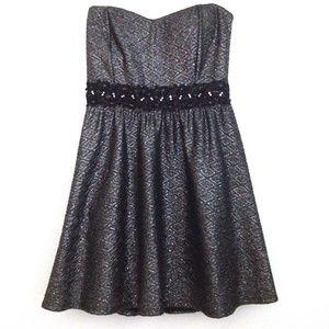 Jacaranda - Strapless Metallic Party Mini-Dress